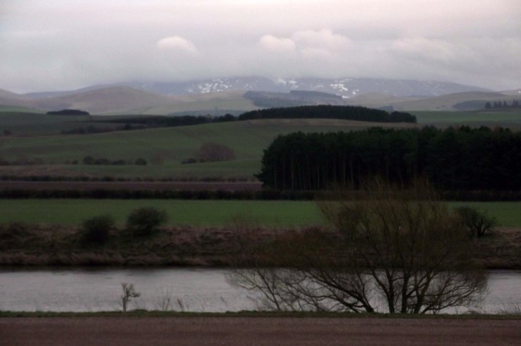 Cheviots, snow, Tweed, fields