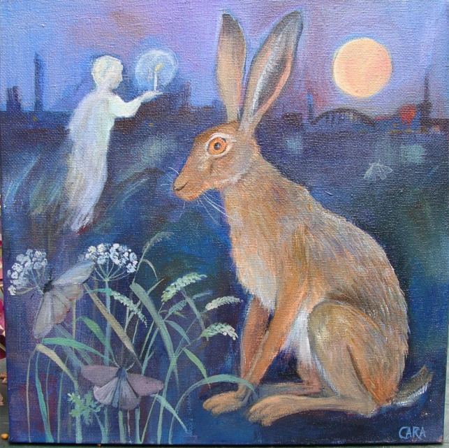 hare, moths,candle